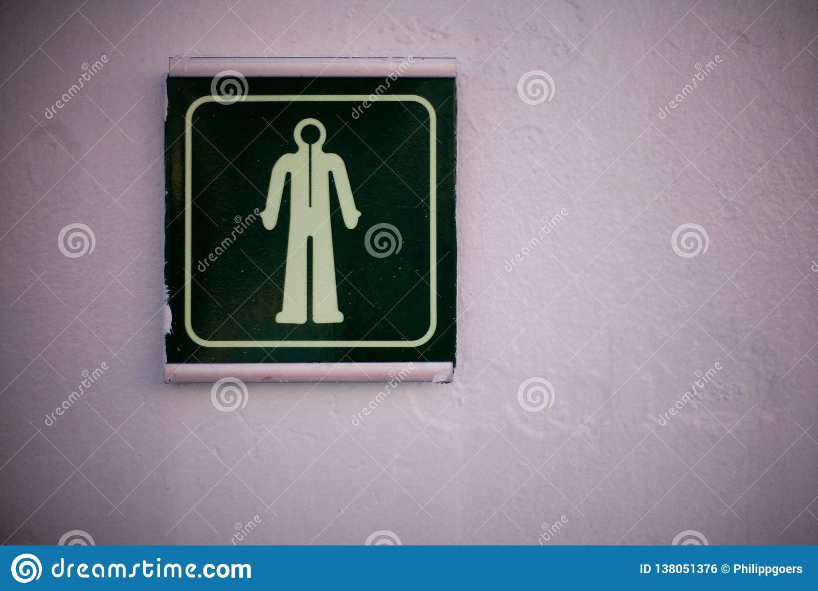 Sign from a man or a diving suit