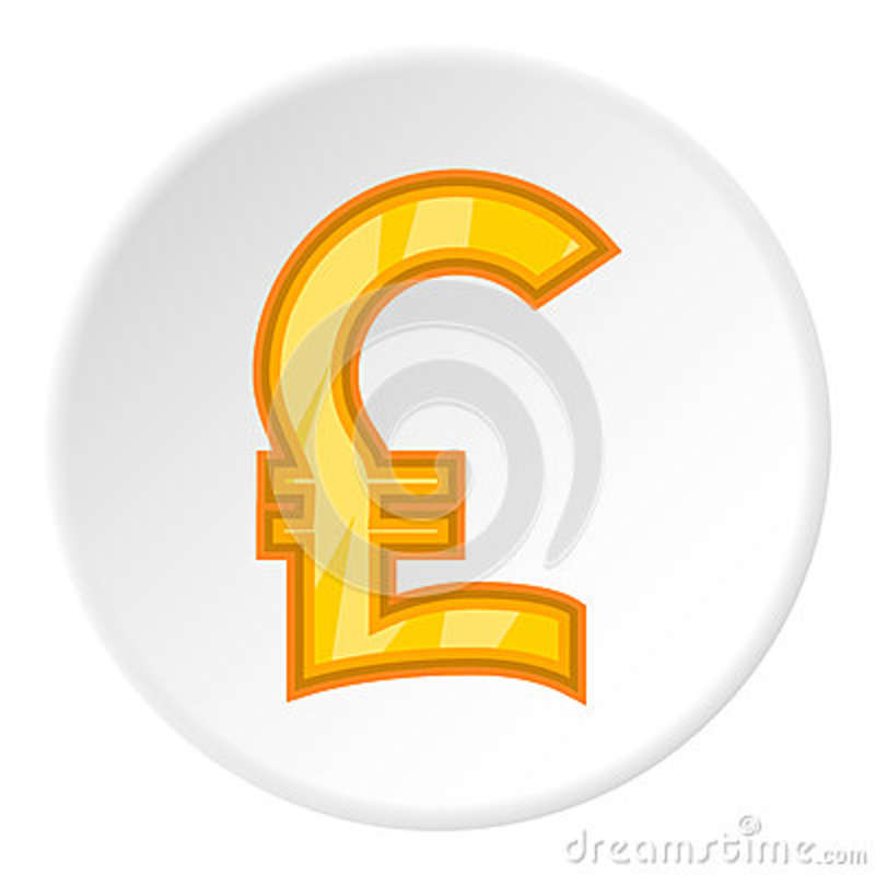 Sign Of Money Pound Sterling Icon Cartoon Style Stock Vector