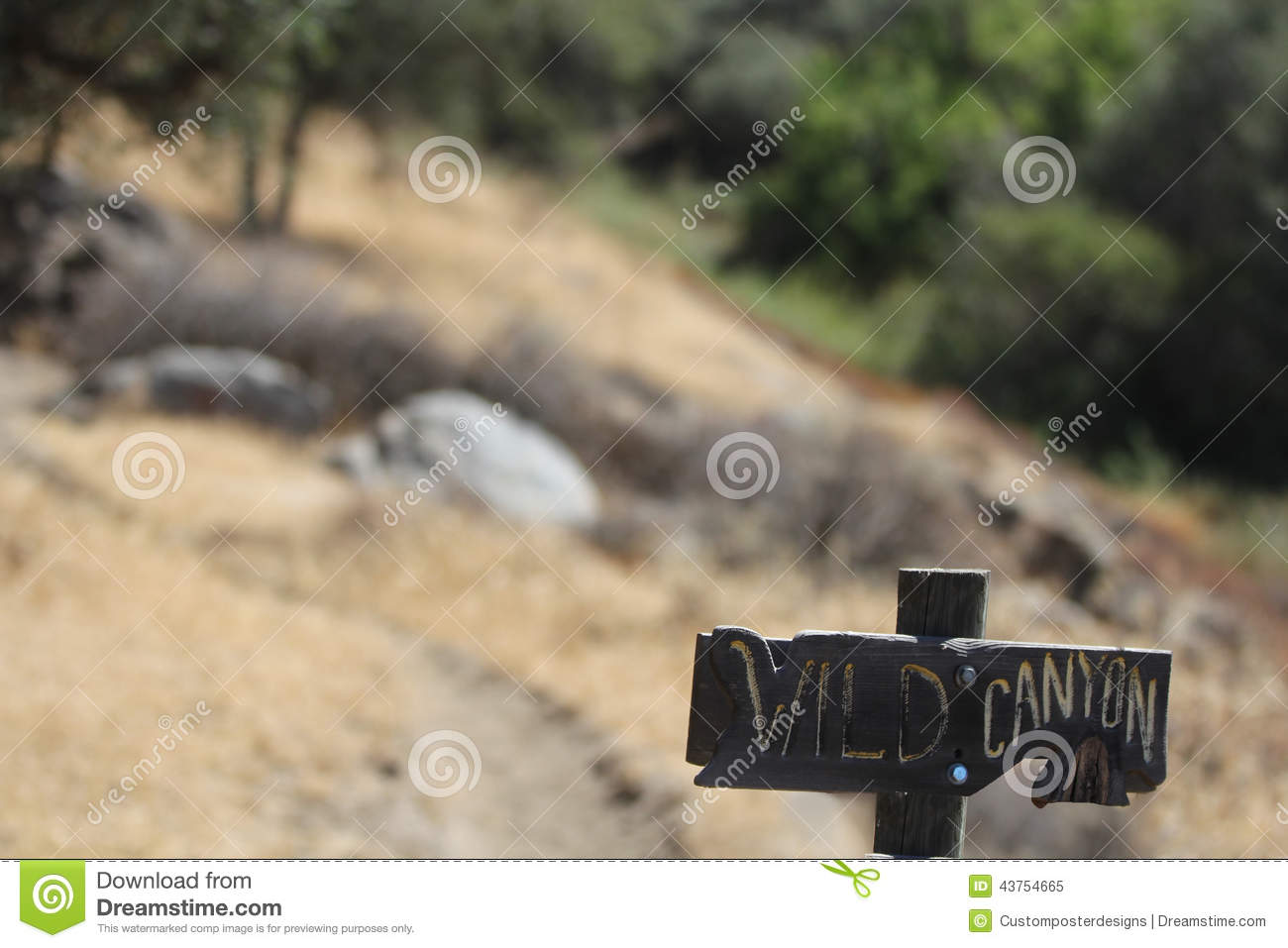 Download A Sign On A Mountain Trail That Reads Wild Canyon Stock Image - Image of trail, living: 43754665