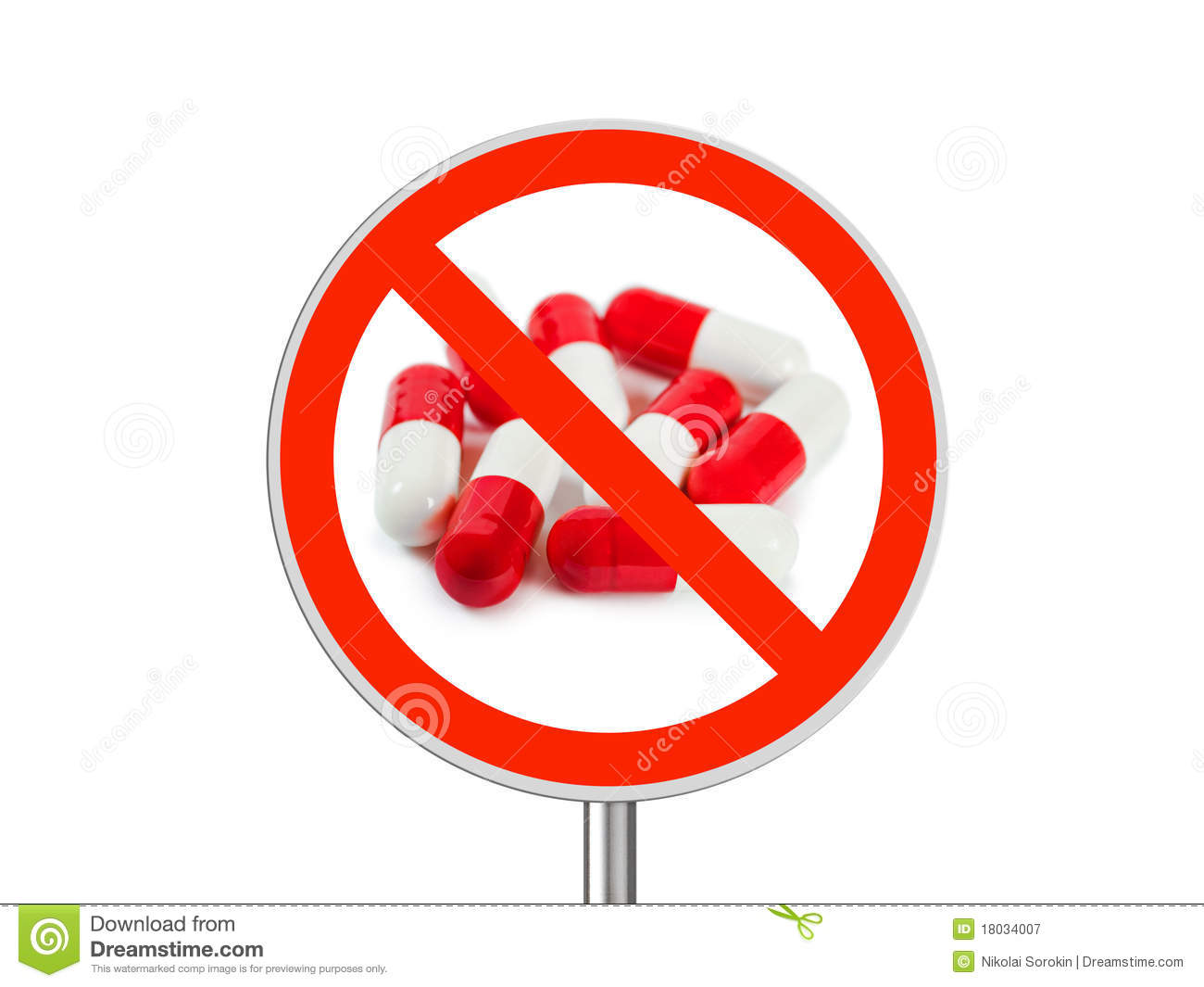 Sign No Pills Royalty Free Stock Photography - Image: 18034007