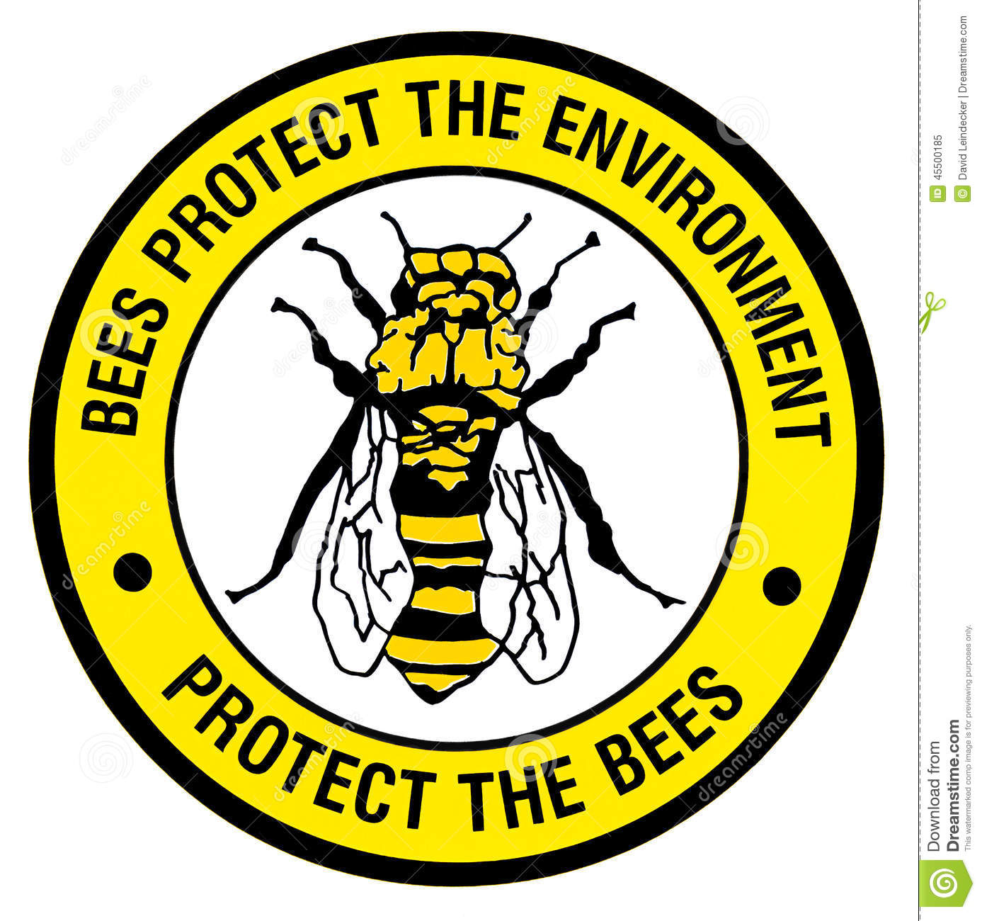 Sign - Protect the bees stock illustration. Image of icon