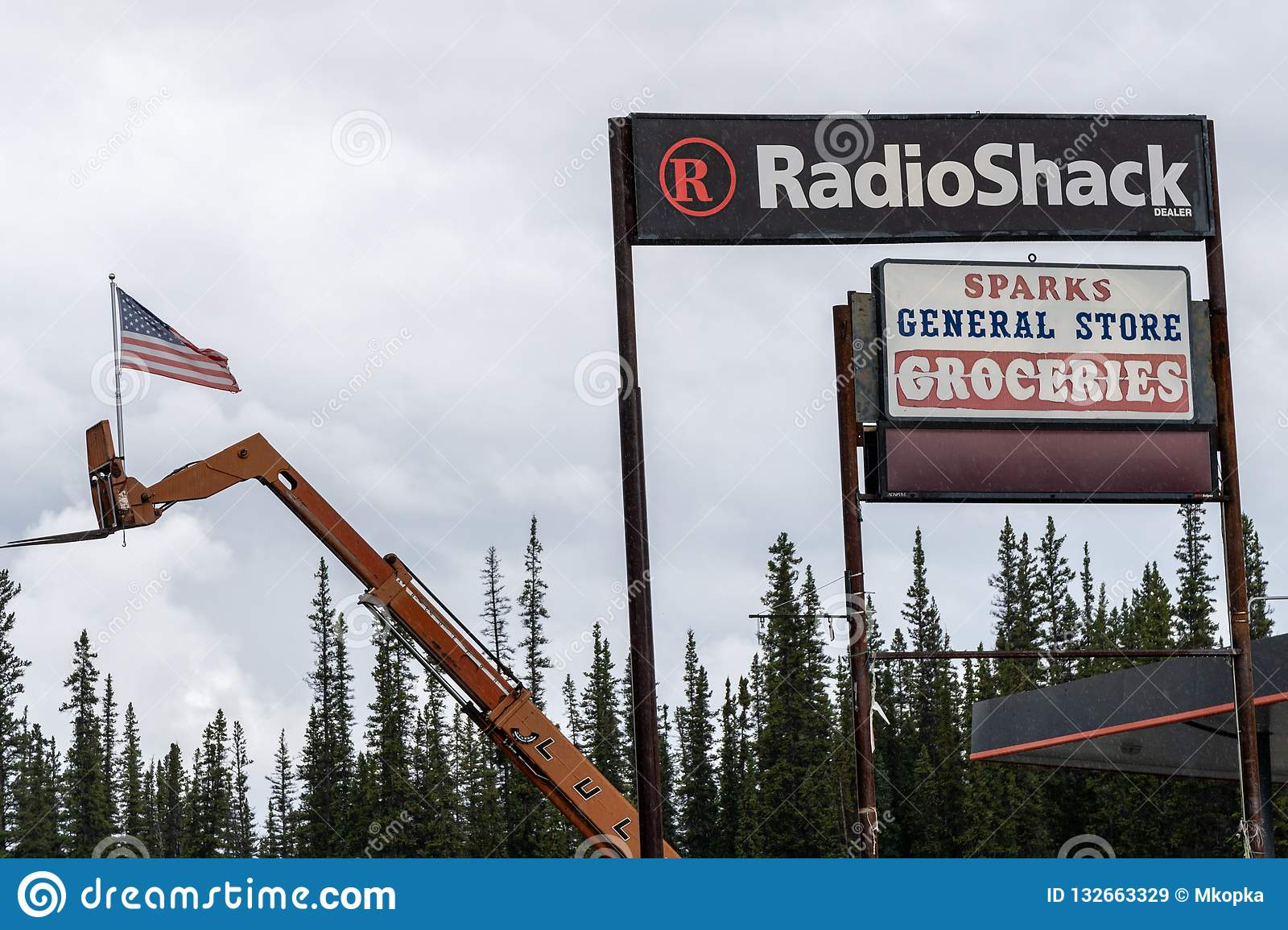 Sign for a Radio Shack store