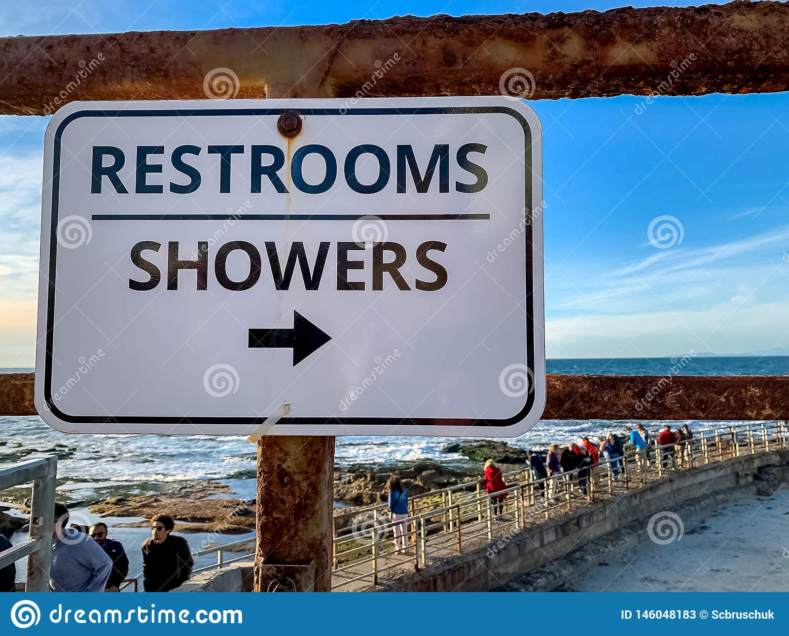 Sign for Restrooms and Showers at La Jolla Beach