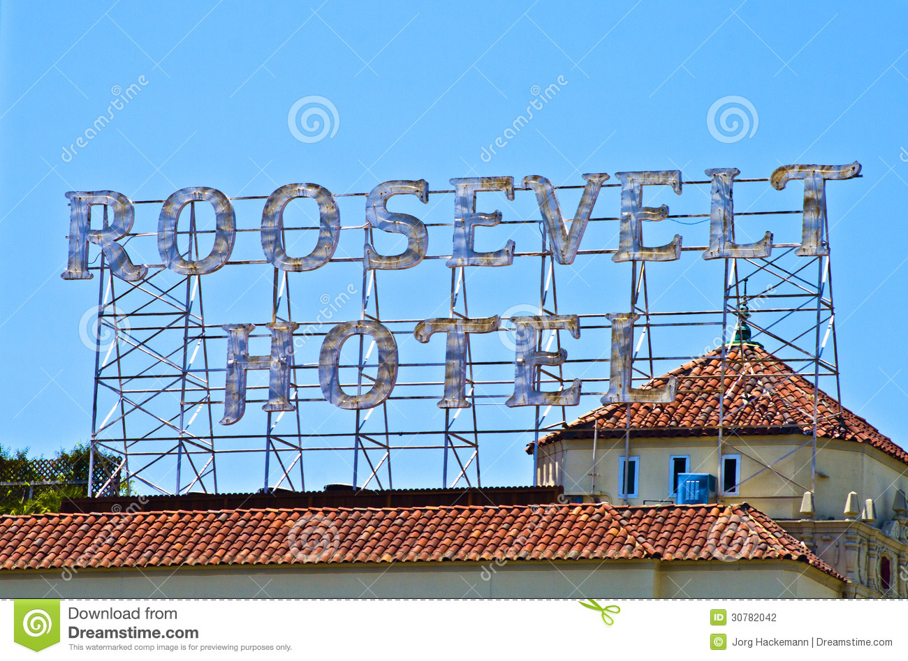 Sign On A Rooftop Promotes Famous Roosevelt Hotel In