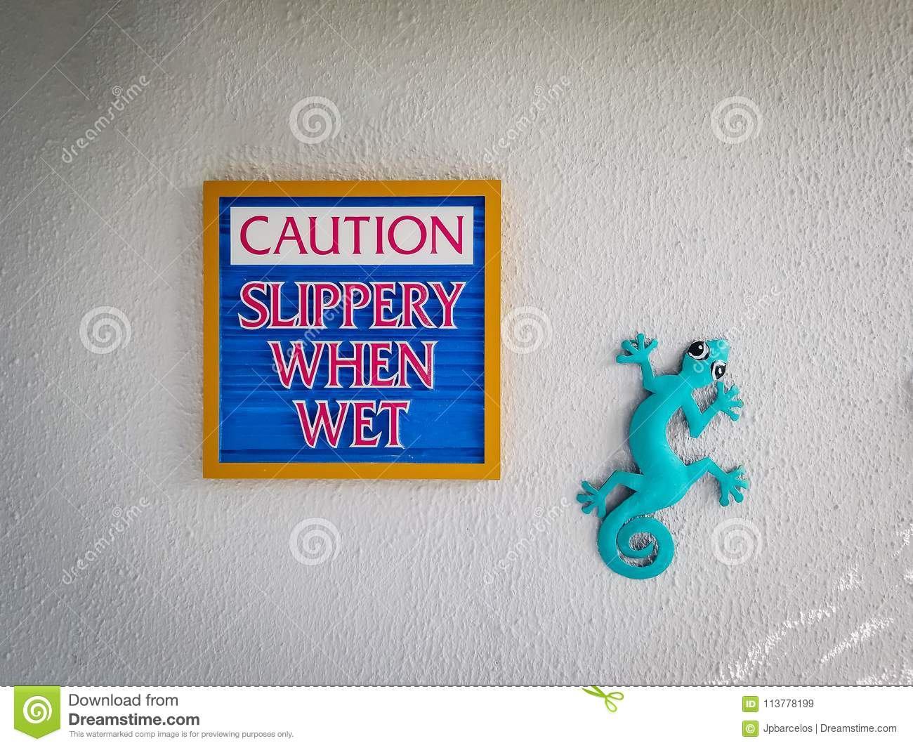 sign saying slippery when wet, caution. typical craft artwork de