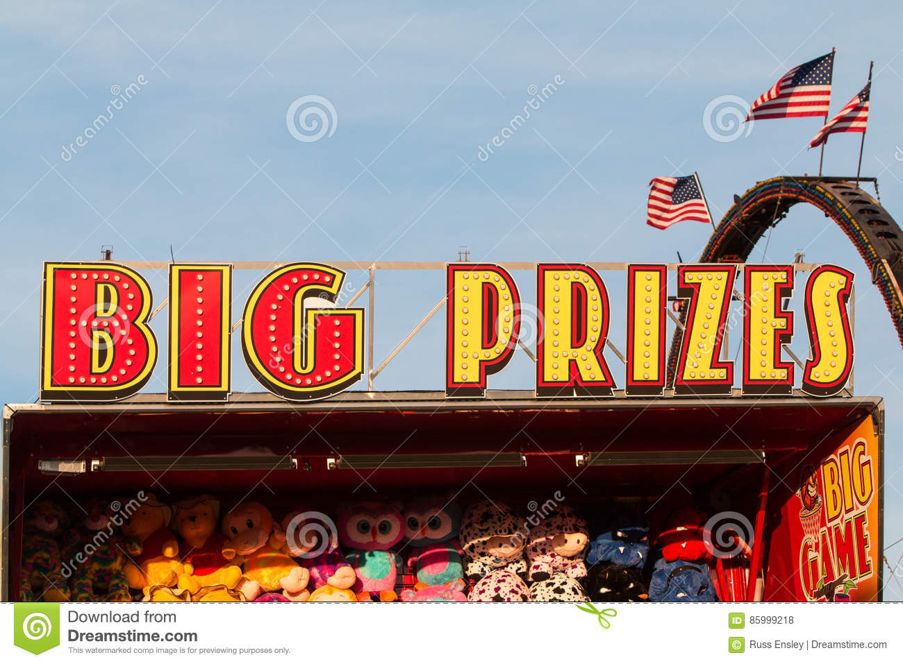 Sign Says Big Prizes At County Fair Carnival Game Editorial