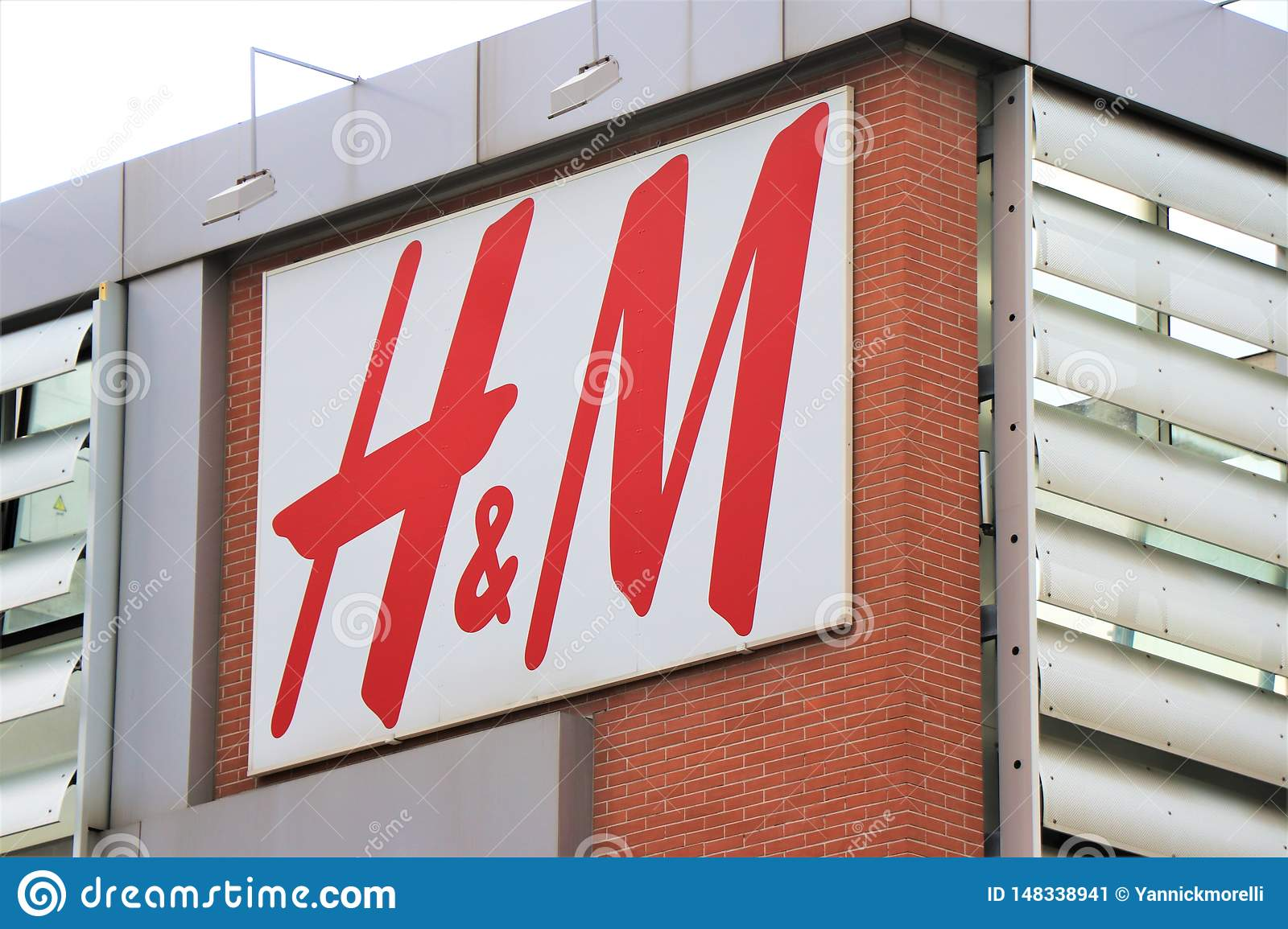 Sign and showcase of the famous clothing and underwear brand ` H&M`