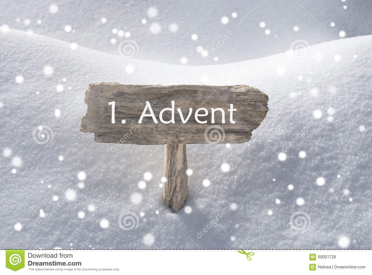 sign snow snowflakes 1 advent means christmas time stock photo