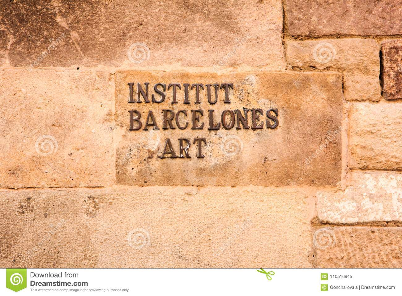 Sign On Stone Wall Of Museum Building In Barcelona, Spain. Royal ...