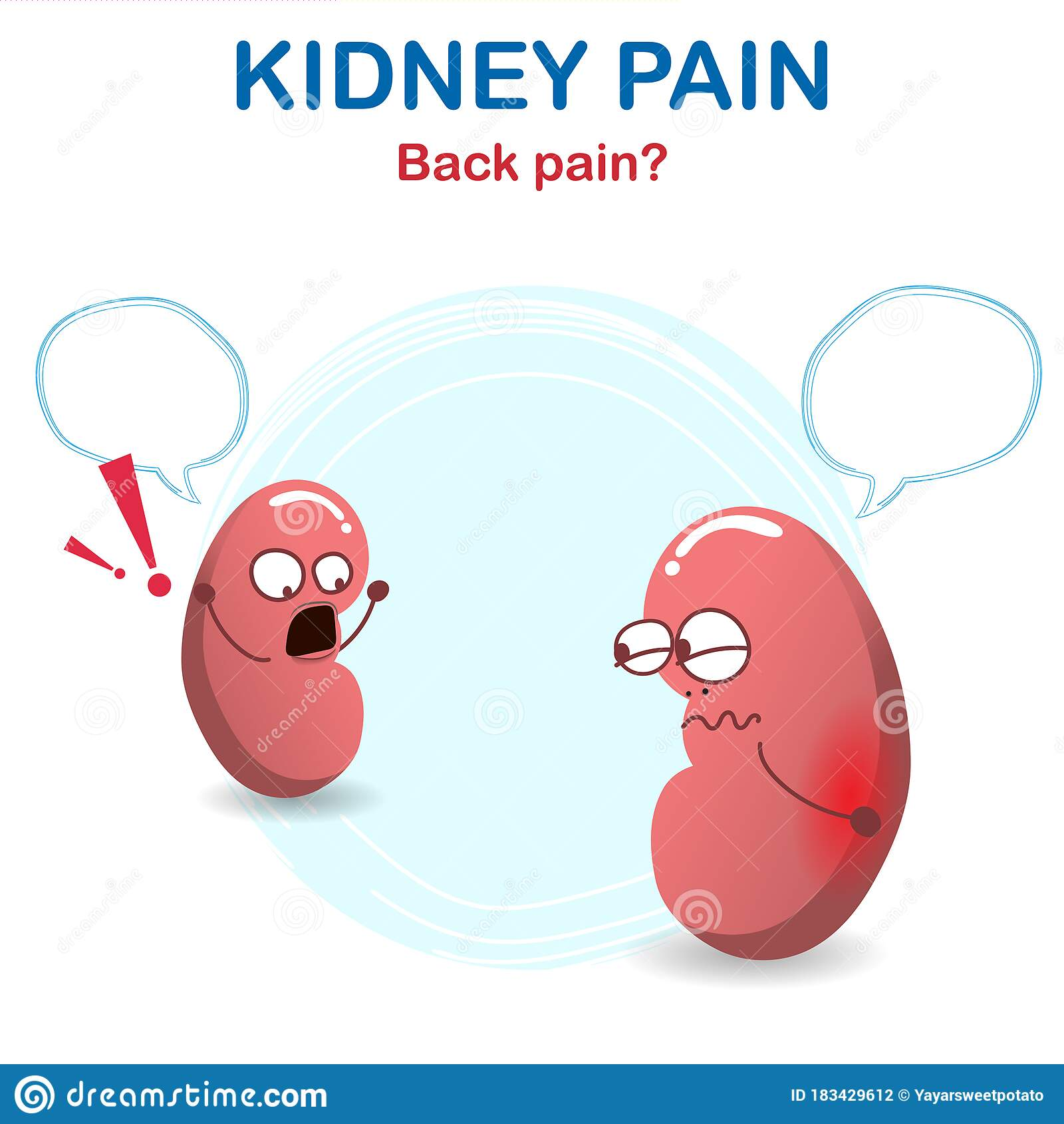 Sign And Symptom Of Kidney Disease Bad Health Back Pain From A Kidney Stone Stock Vector Illustration Of Concept Flat 183429612