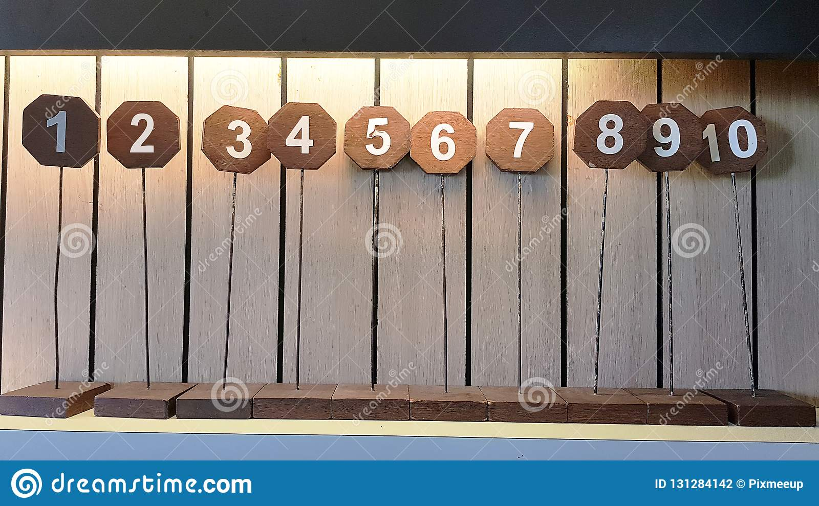 The Sign Of Table Numbers That Arrayed 1 To 10 On Shelve In The Restaurant Stock Photo Image Of Fashion Design 131284142