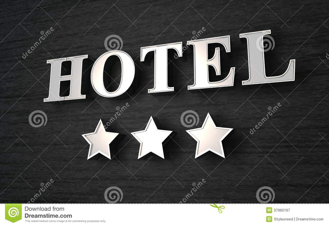 Royalty free stock photo download sign for three star hotel