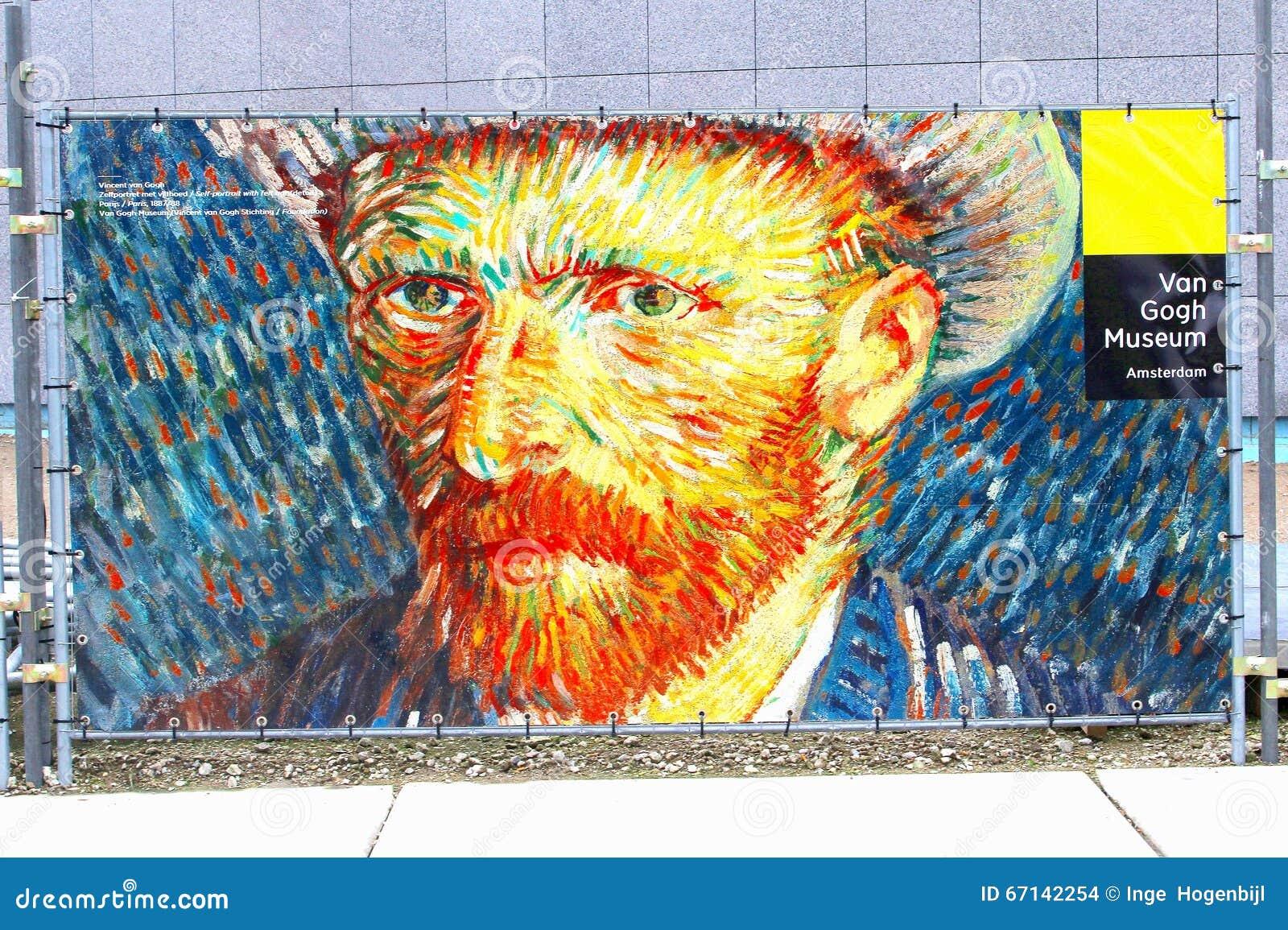 Self Portrait Vincent Van Gogh Museum Sign Amsterdam
