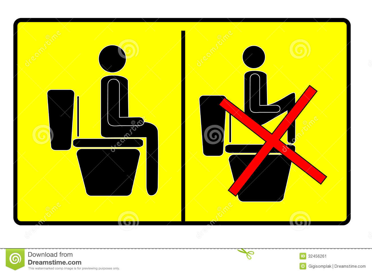 Sign At Toilet Stock Vector Illustration Of Seat Sewer