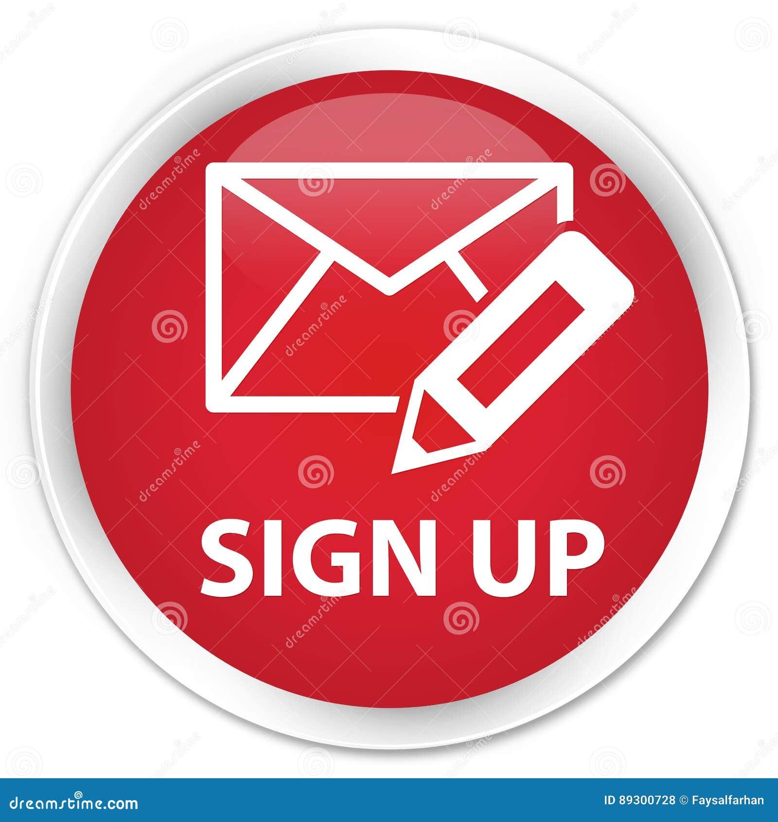 Sign up (edit mail icon) premium red round button