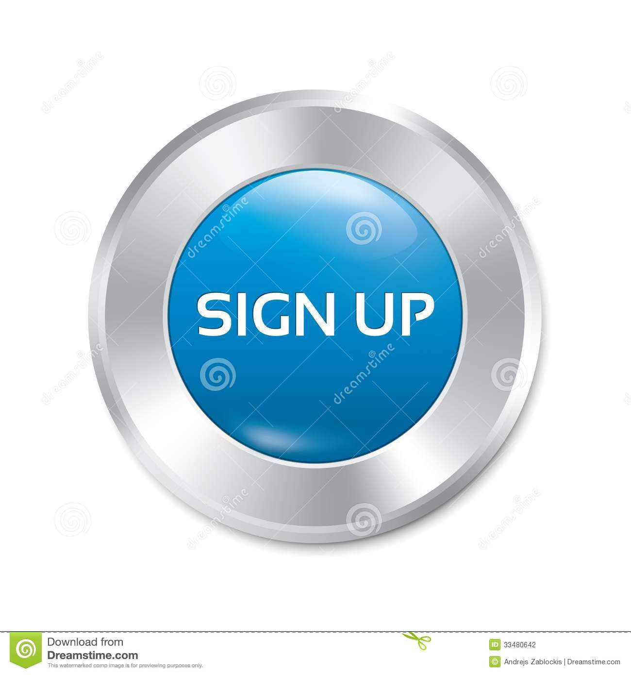Sign Up Glossy Blue Button. Round Sticker. Stock ...