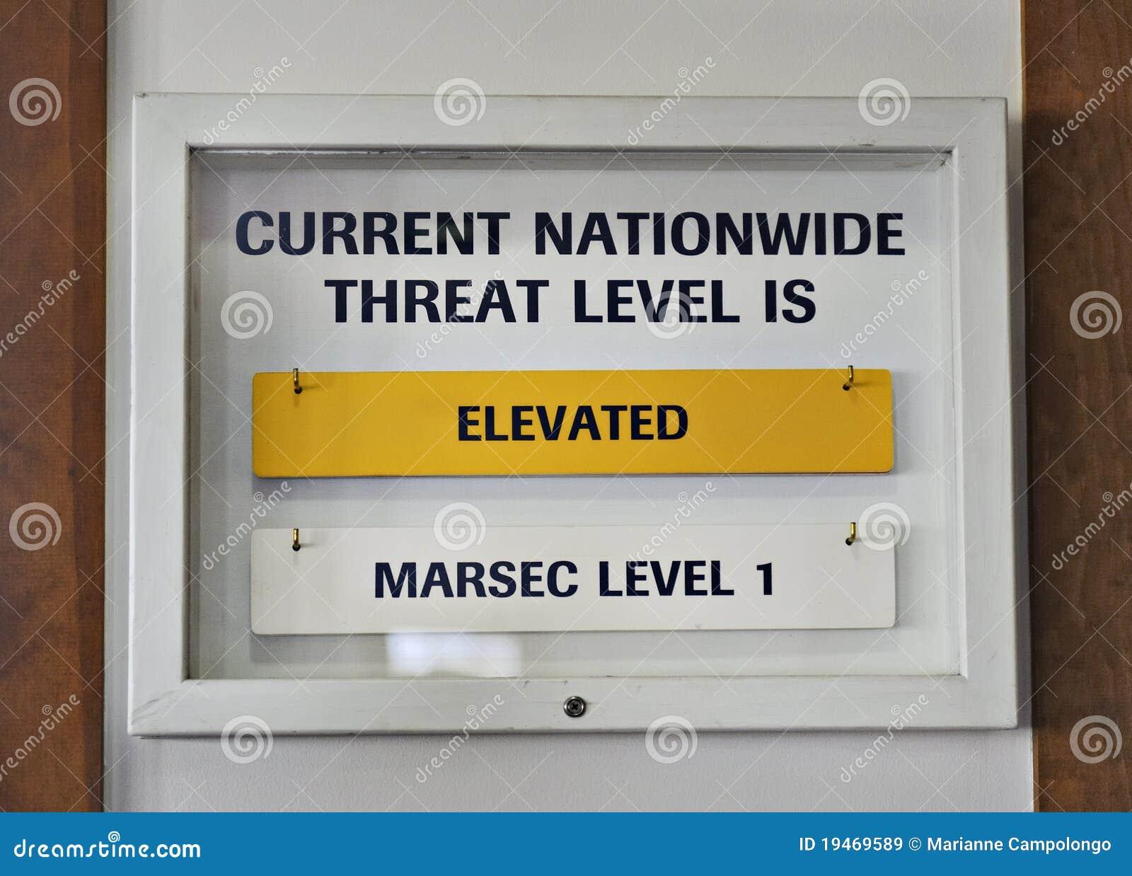Sign US terrorist threat level elevated yellow