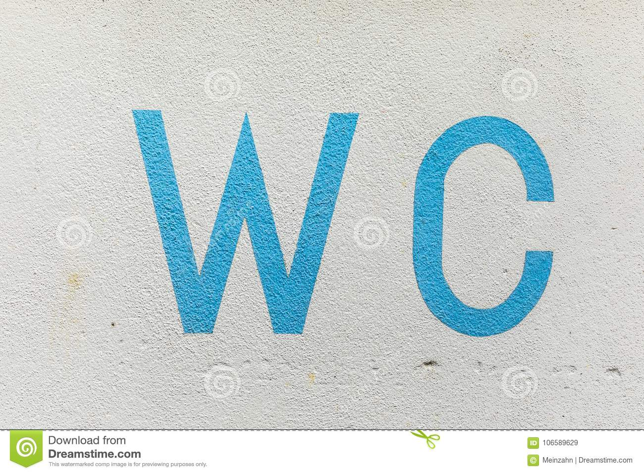 Sign WC - Water Closet At A Wall Stock Image - Image of letter ...