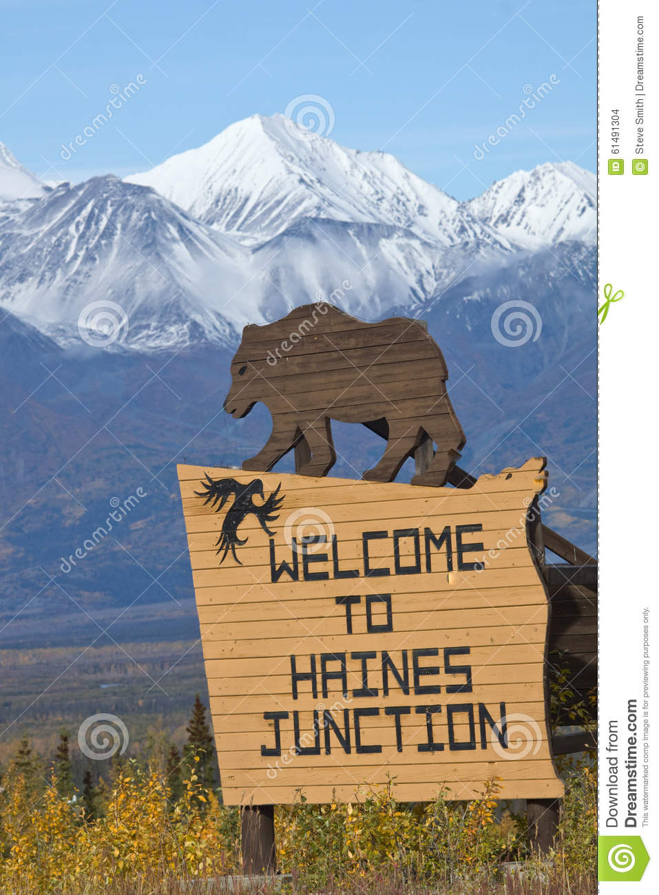 Sign welcoming visitors to Haines Junction, Yukon