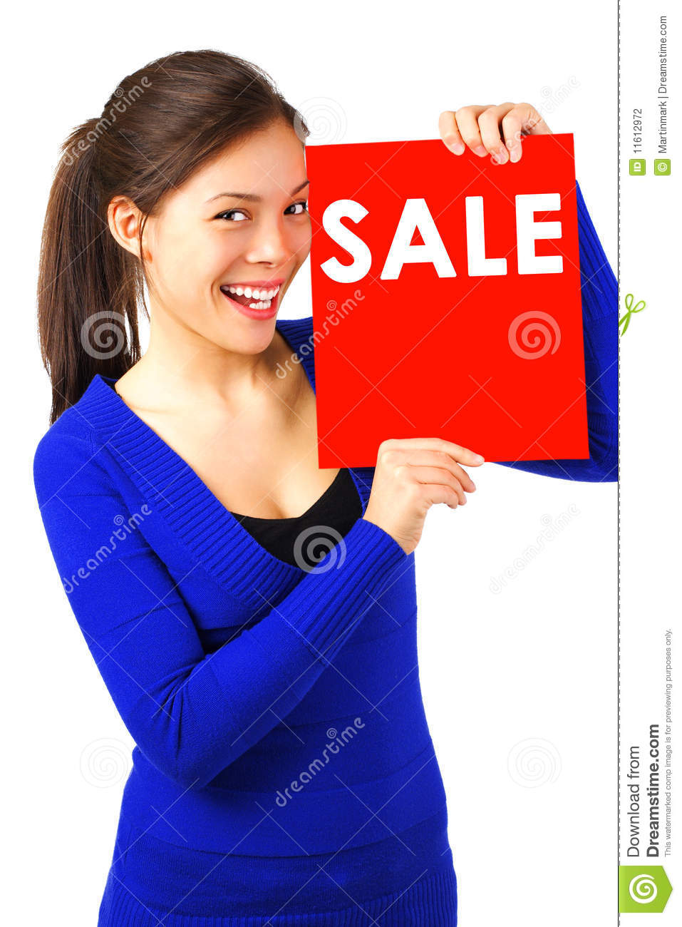 Asian Woman Holding Sale Sign 115