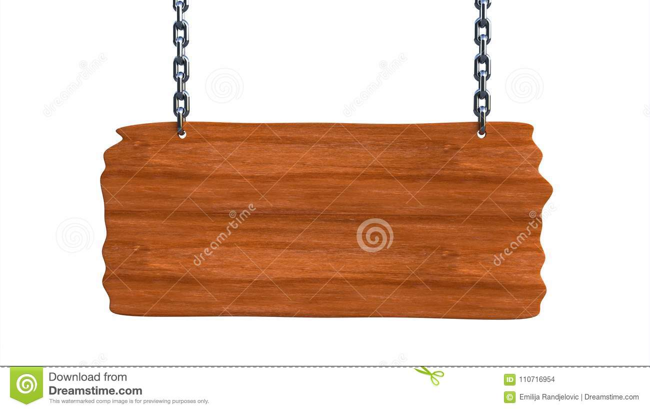 Sign wooden blank board hanging on chains and space for text
