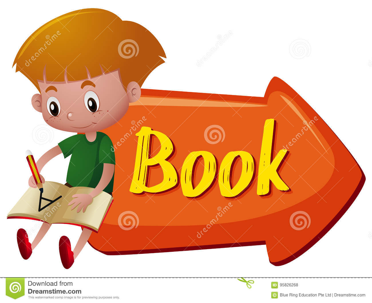 Sign With Word Book And Boy Writing Stock Vector