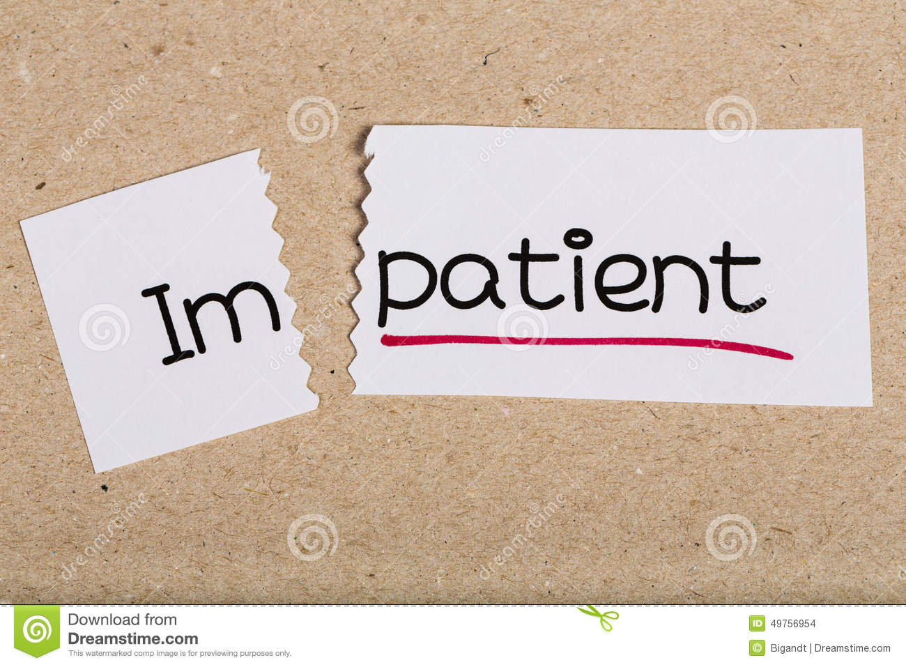 Sign With Word Impatient Turned Into Patient Stock Photo ...
