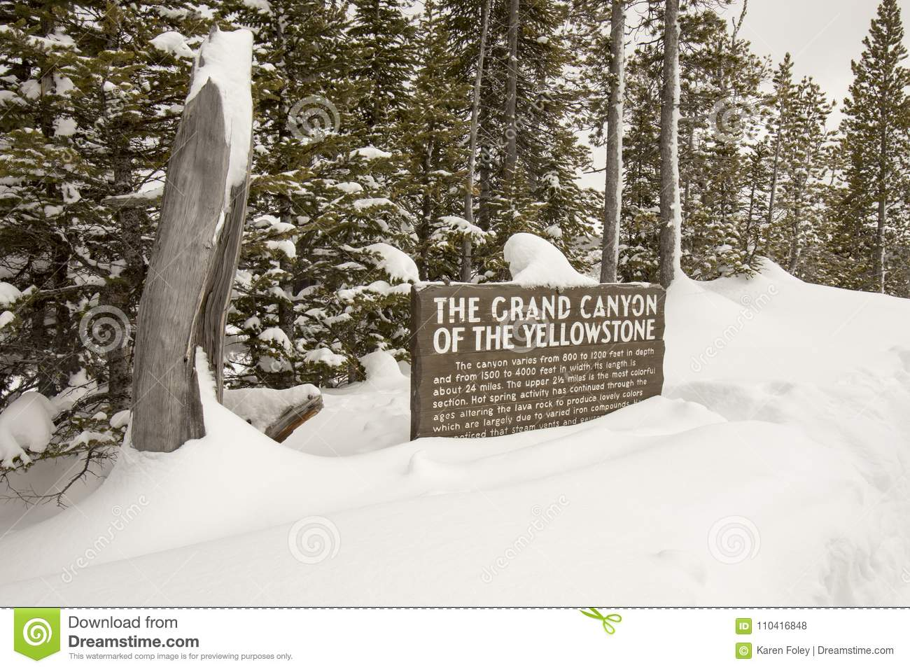Signage For The Grand Canyon Of Yellowstone National Park In