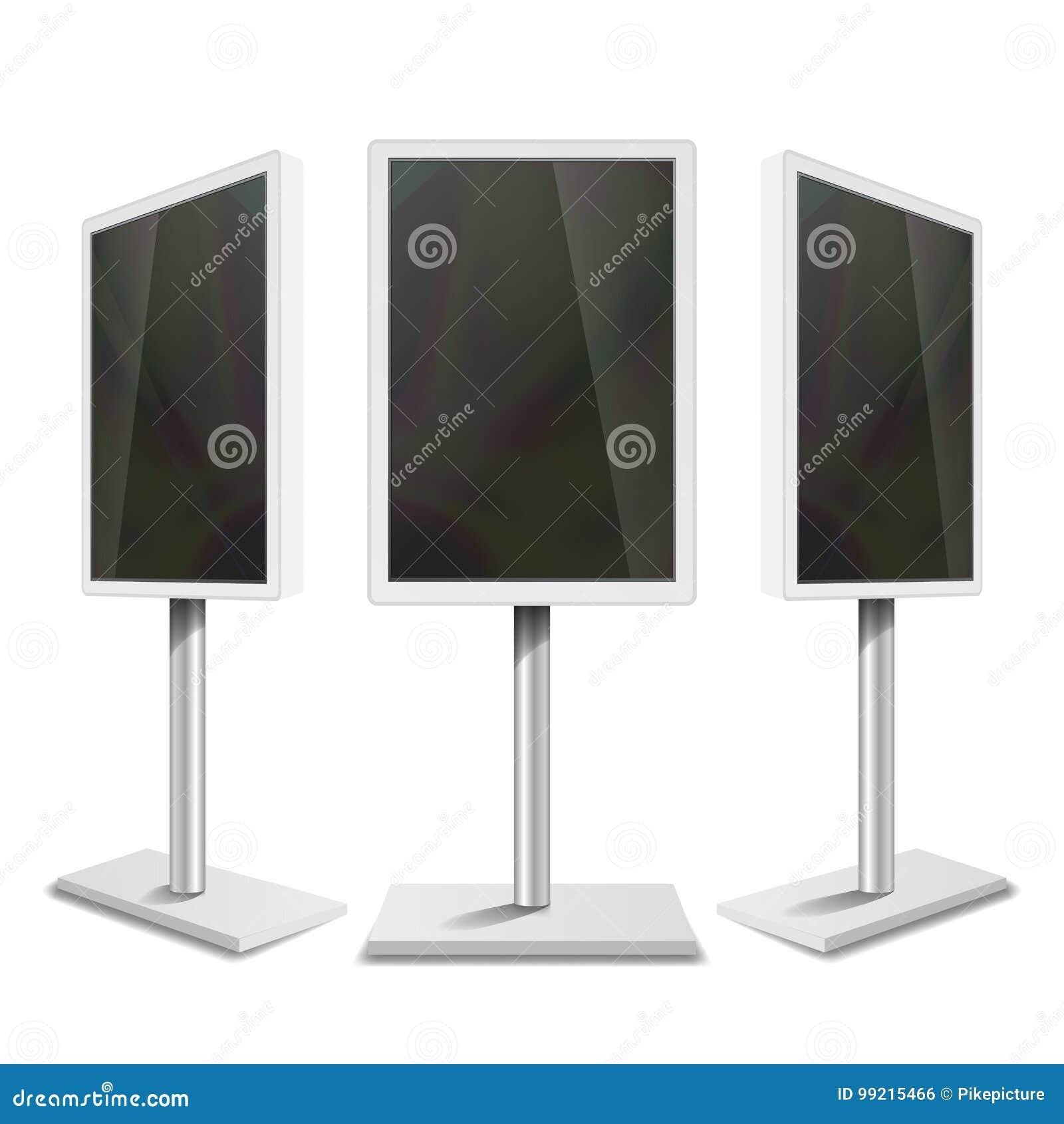 Signage interativo portátil de Digitas Indicação digital vazia limpa branca Ilustração isolada