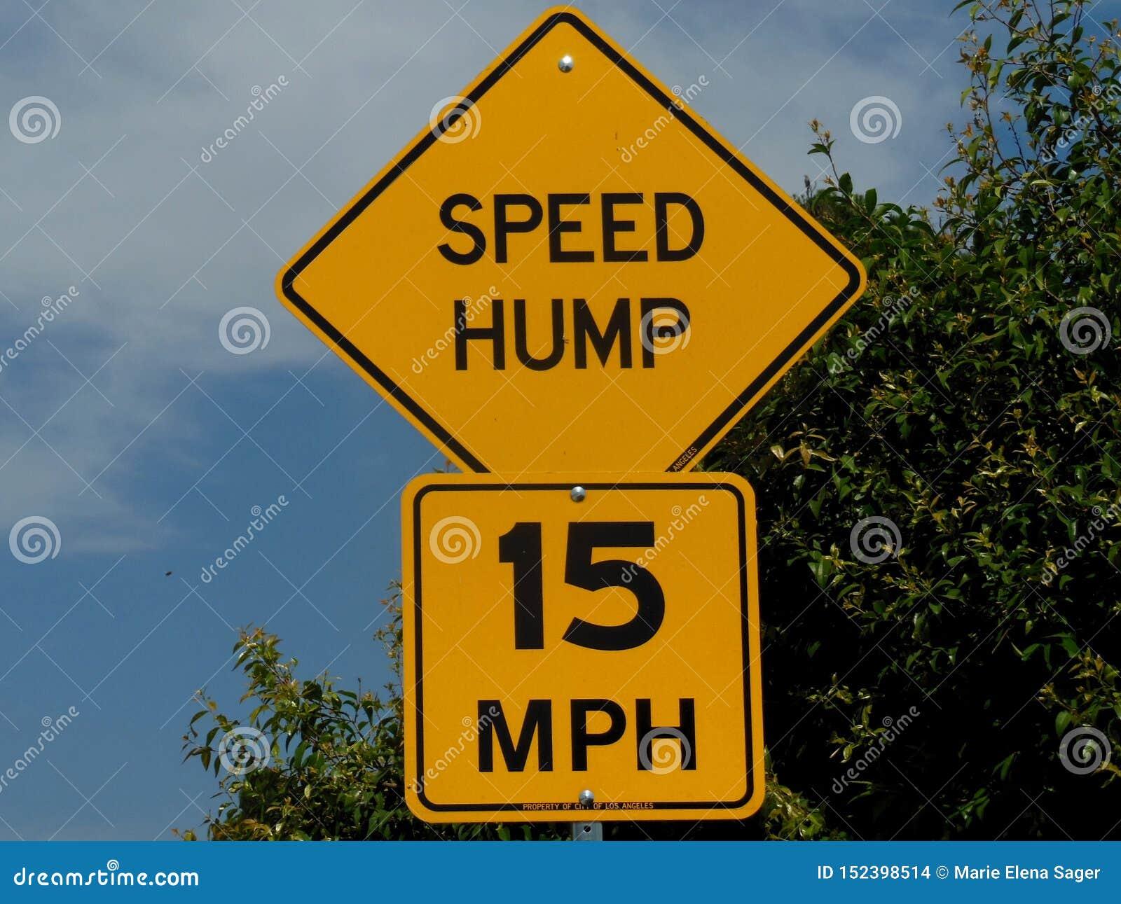 Signage para a corcunda da velocidade 15 MPH