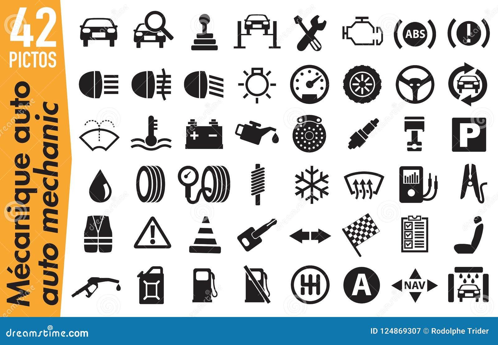 42 signage pictograms on automobile mechanics