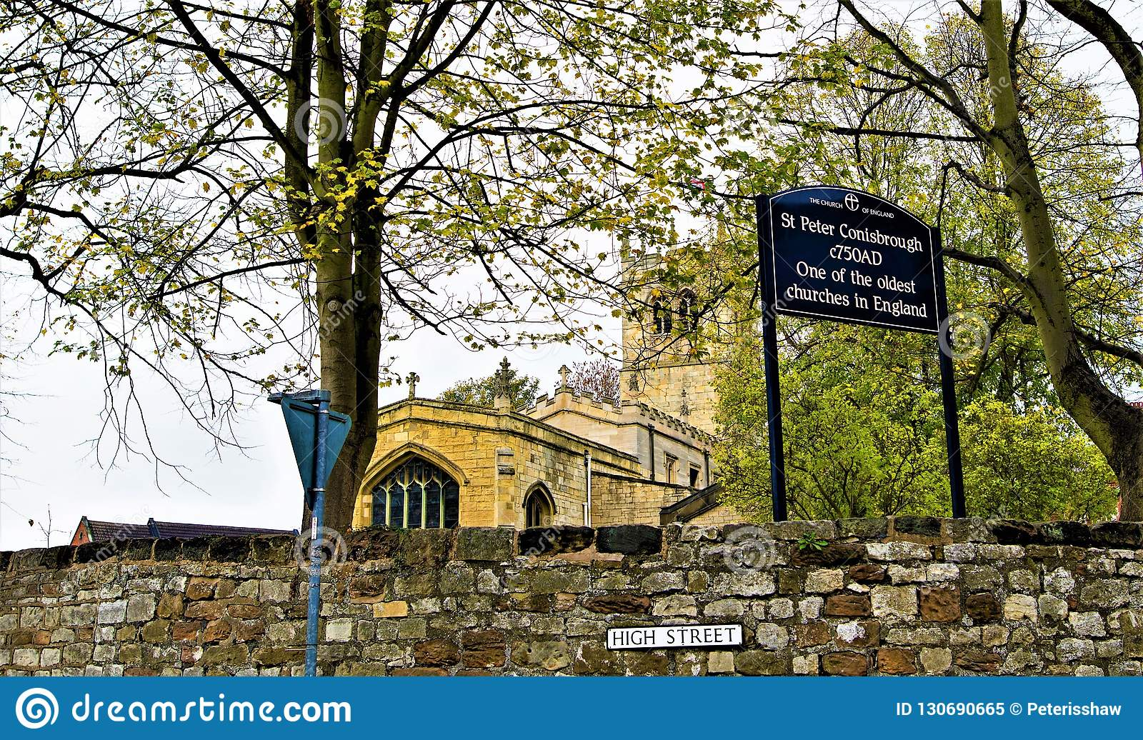 Signage to St Peter`s Church, Conisbrough, Doncaster.