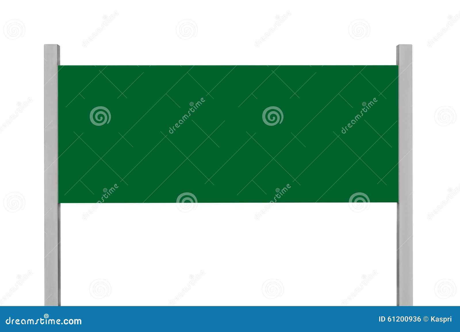 Signage verde da placa do sinal do metal, espaço vazio vazio isolado da cópia do retângulo do quadro indicador da borda da estrad