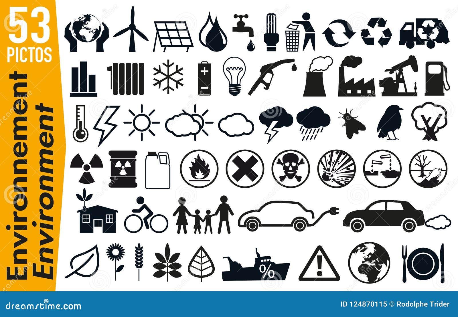 53 Signagepiktogramme auf der Umwelt und der Ökologie