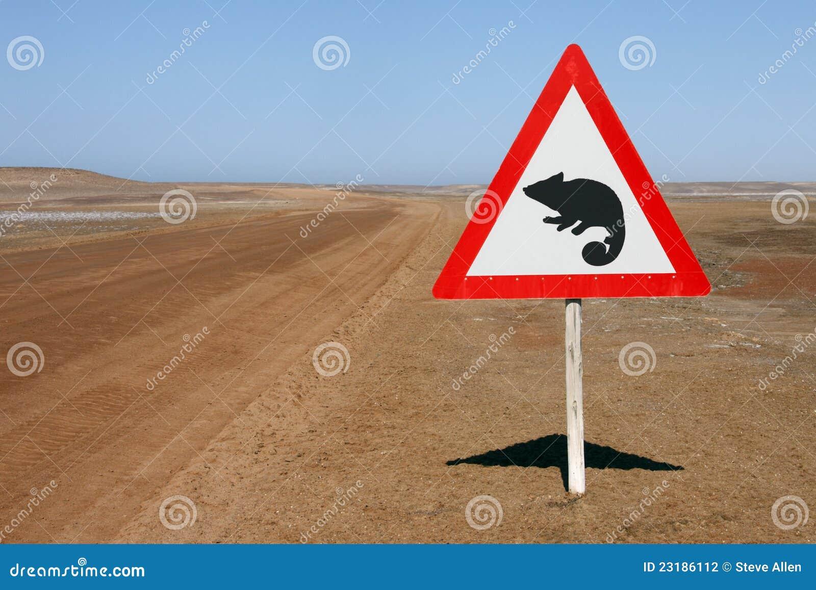 Signal d avertissement - caméléons - la Namibie