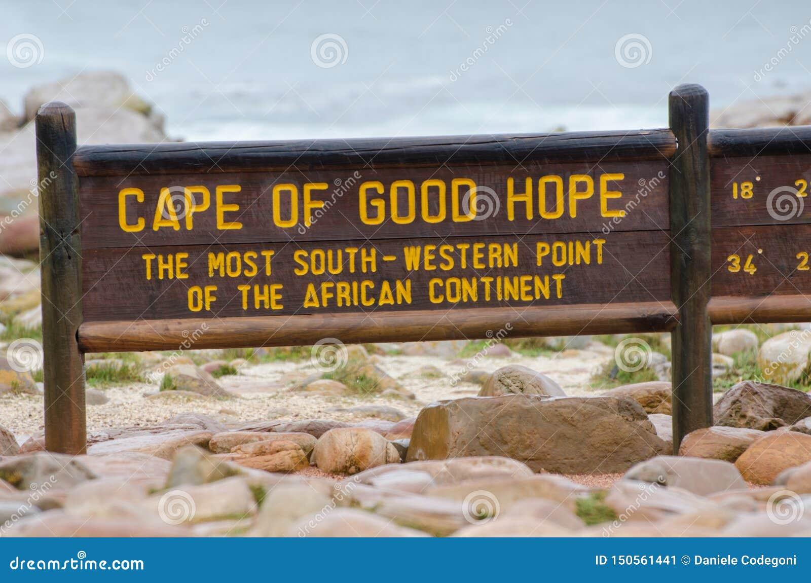 Signal en bois du Cap de Bonne-Espérance La plupart de sud et de point occidental de continent africain Le P?ninsule du Cap, Afri