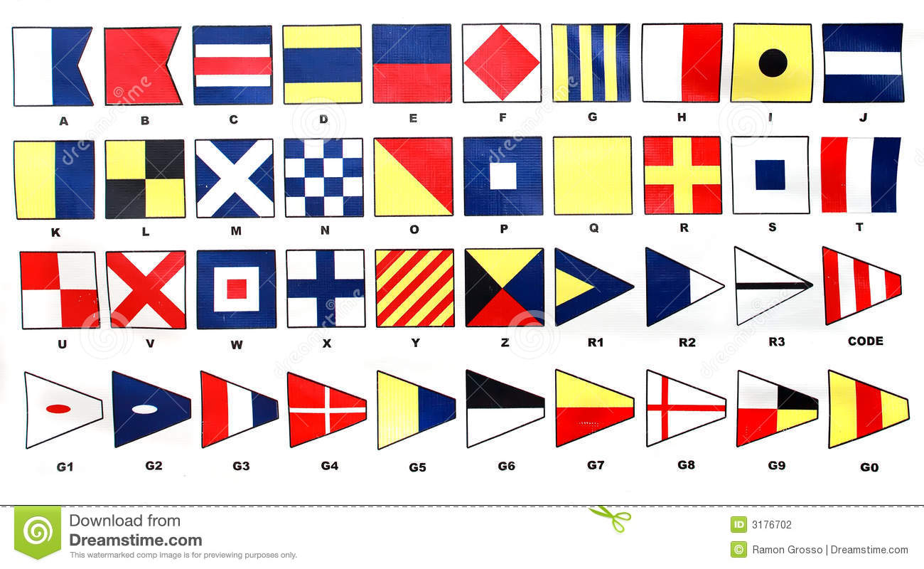 International signal code with flags on ships for announcements.