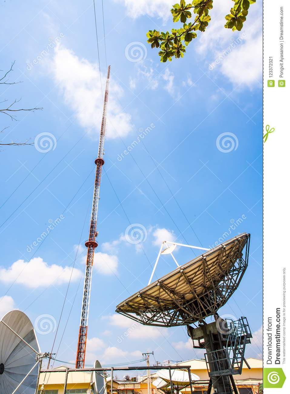 Signal Tower And Satellite Dish The Sky Is Big And The