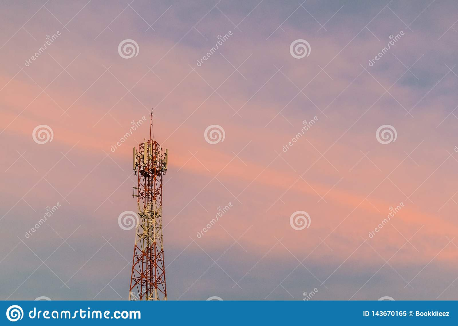 Signal tower with twilight sky on sunset time.