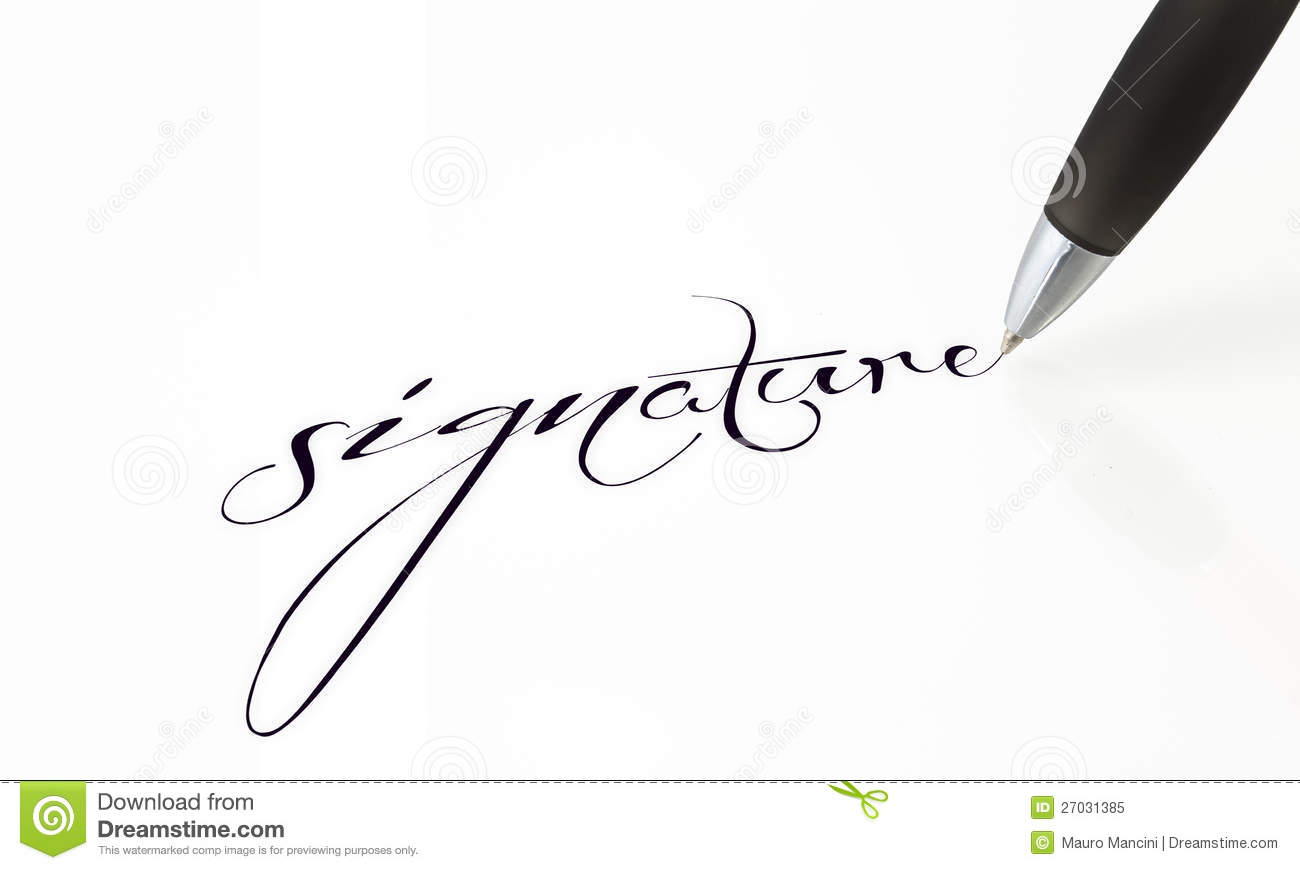signature in the contract royalty free stock photo