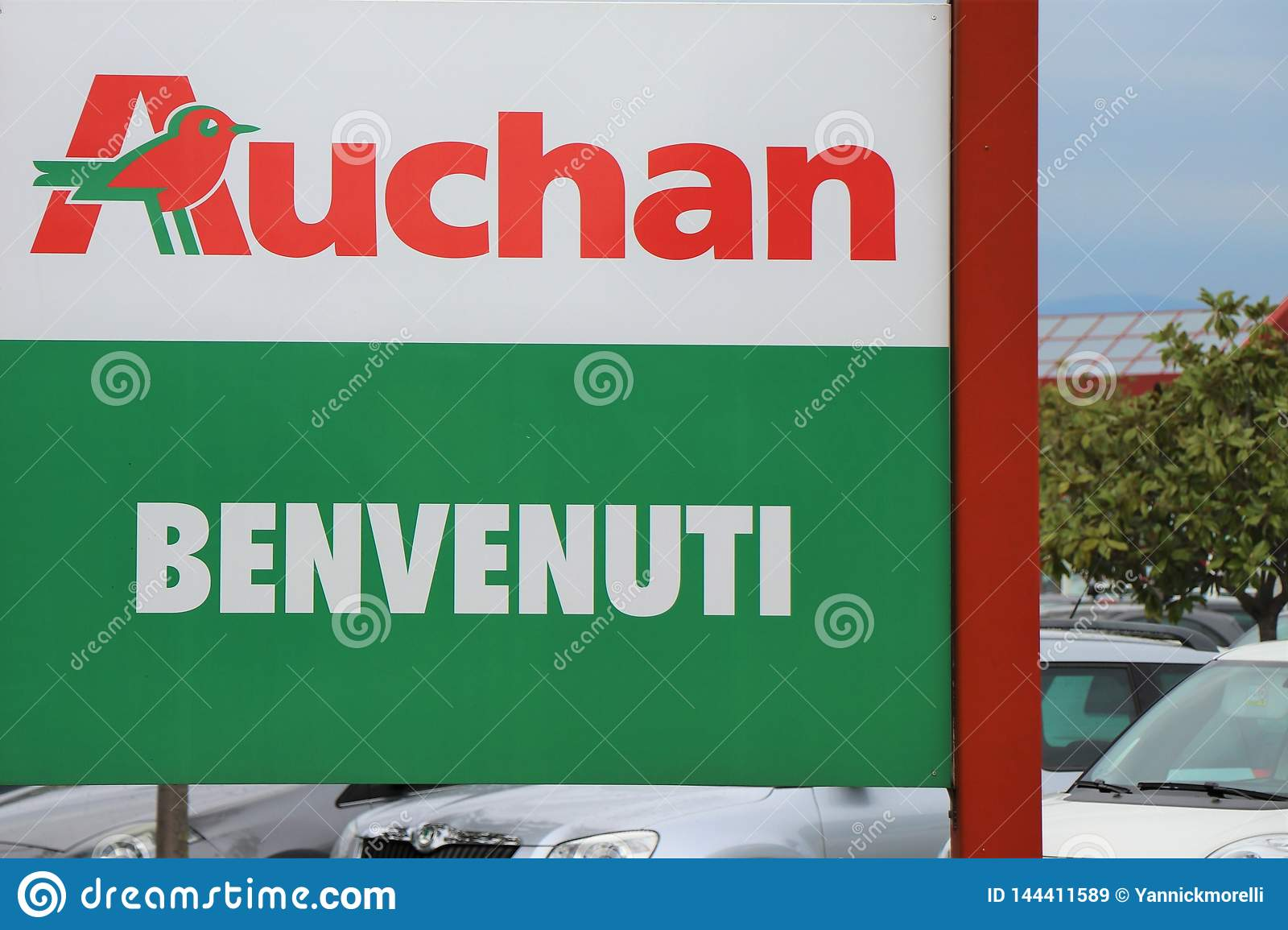 Signboard Of Auchan At The Entrance Of The Supermarket