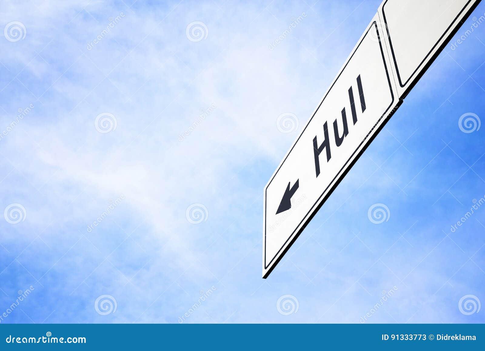 Signboard pointing towards Hull
