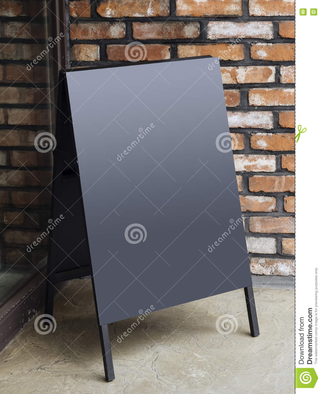 signboard stand blank menu shop restaurant with brick wall stock