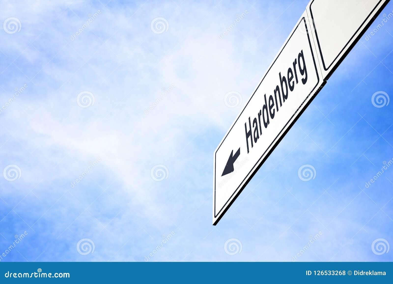 Signboard wskazuje w kierunku Hardenberg