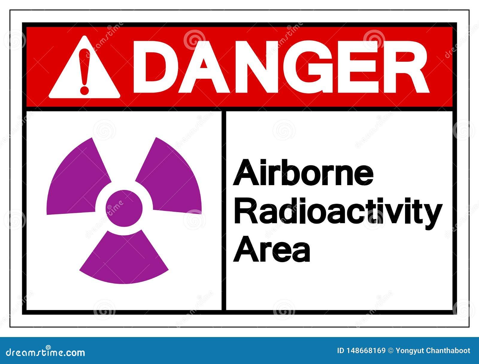 Signe aéroporté de symbole de région de radioactivité de danger, illustration de vecteur, isolat sur le label blanc de fond EPS10