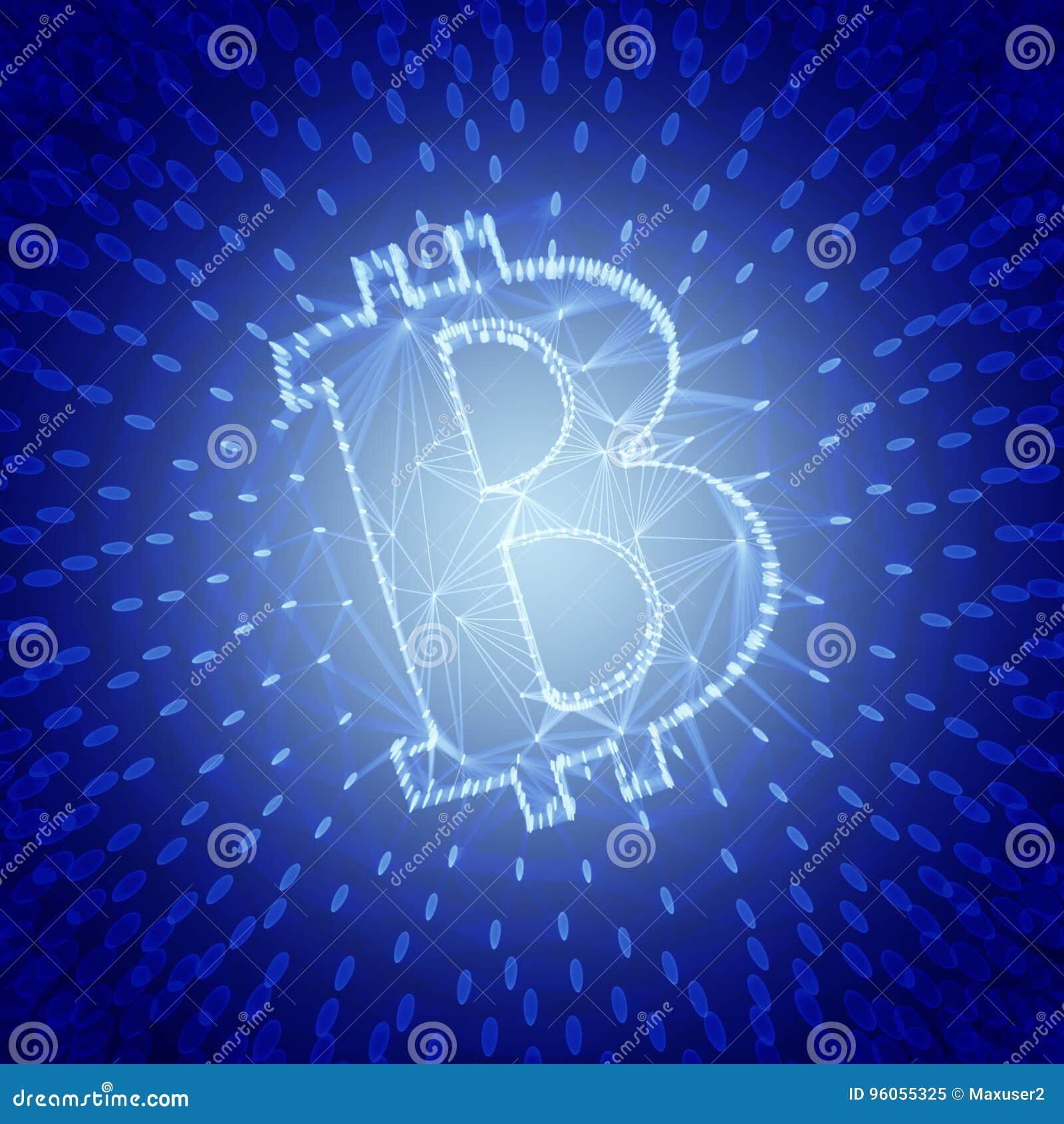 Signe abstrait bleu de Bitcoin établi comme choix de transactions dans l illustration 3d conceptuelle de Blockchain