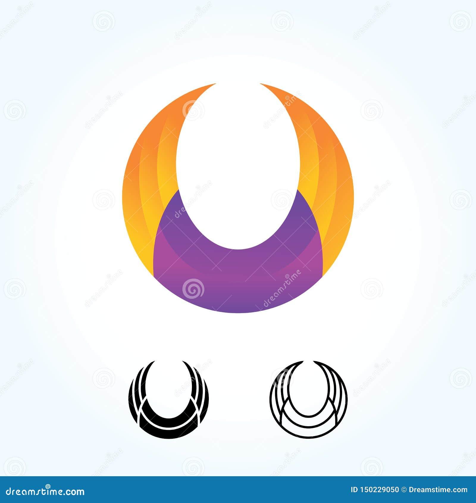 Signe abstrait de logo d aile de cercle conception matérielle, appartement et ligne style - vecteur