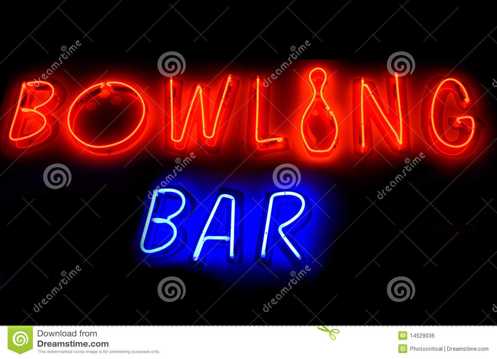 Signe au néon de BAR de BOWLING