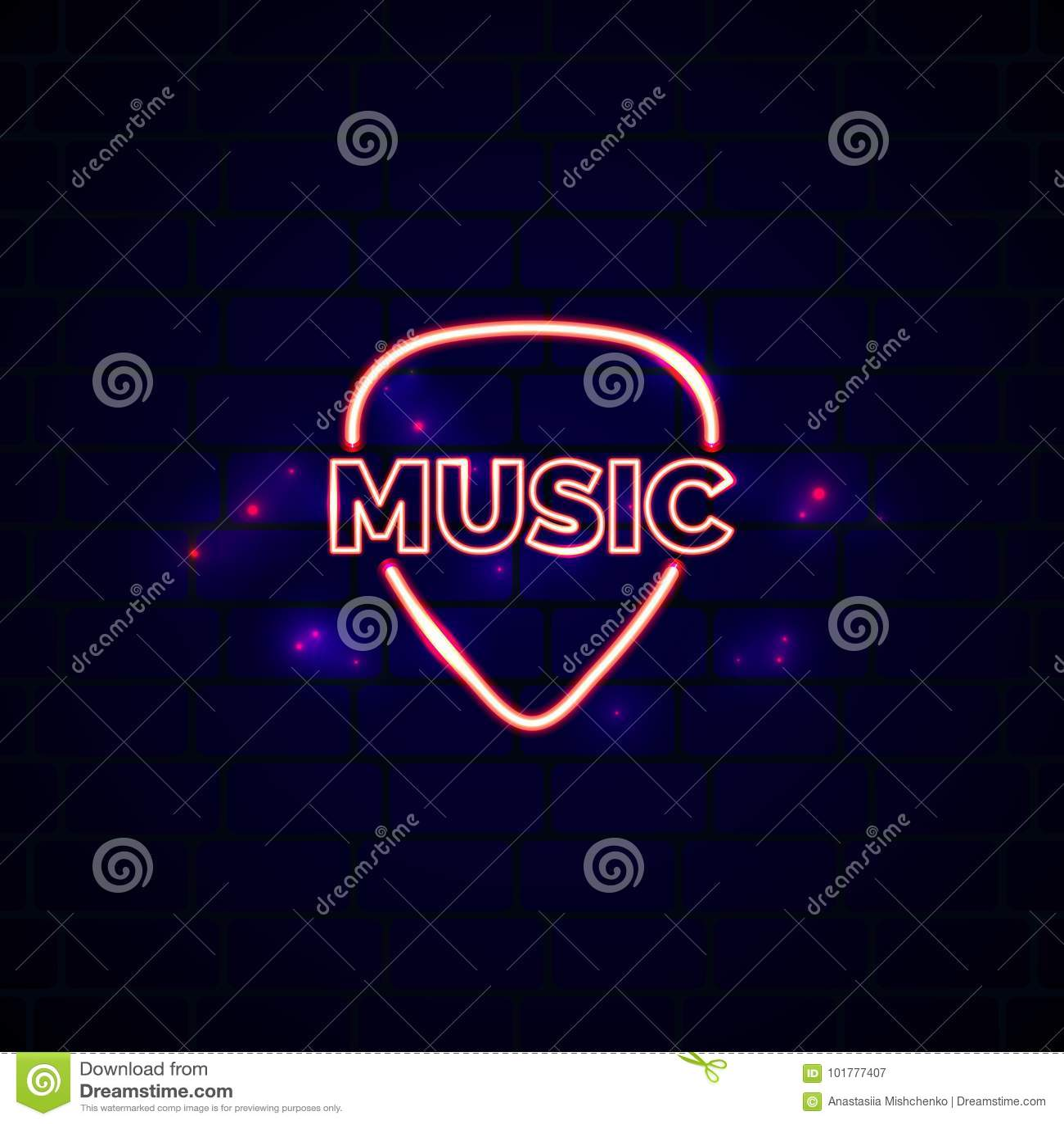 Signe au néon de boutique de musique avec le plectre Emblème rougeoyant de vecteur de boutique de guitare