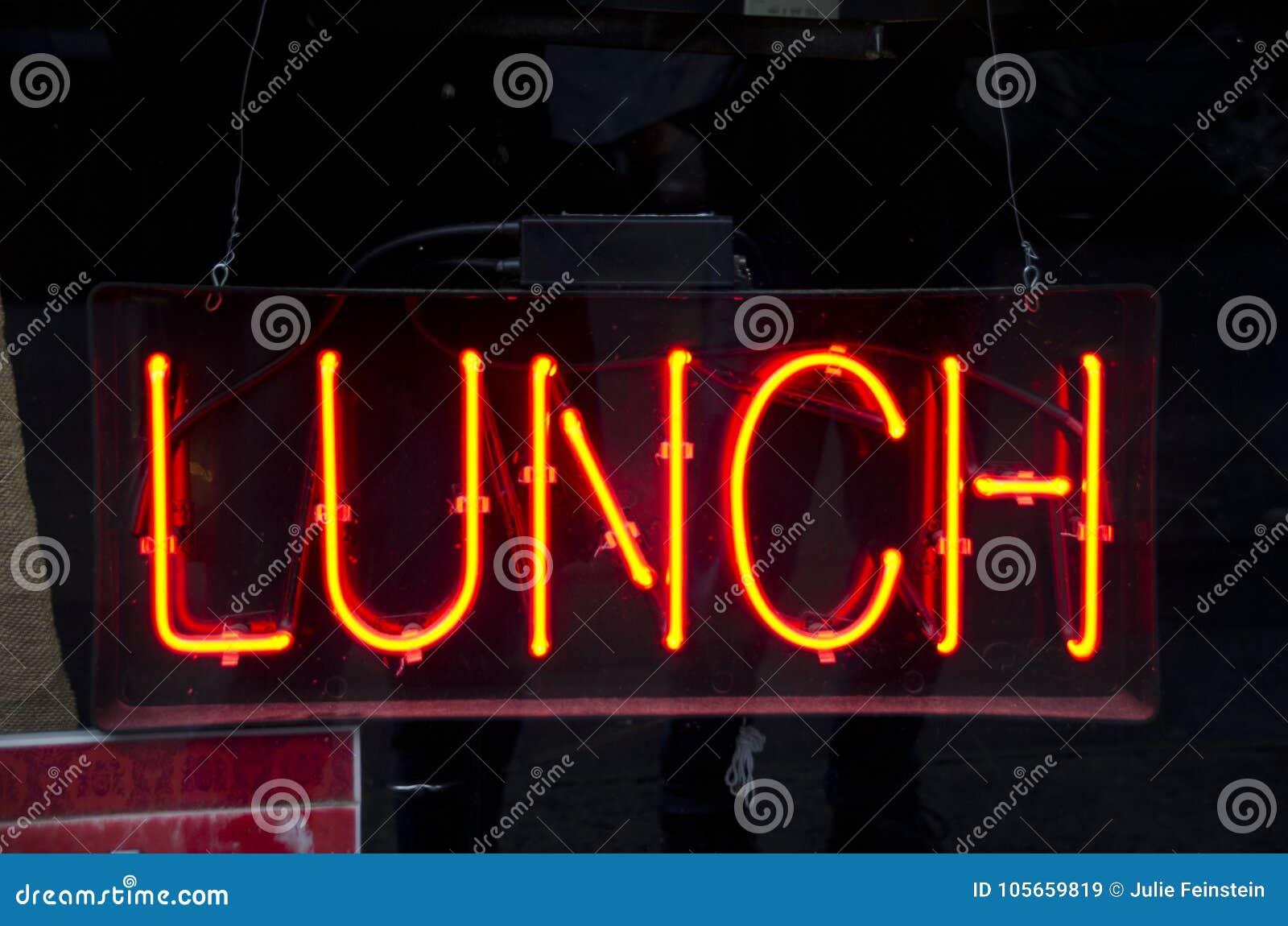 Signe au néon de déjeuner